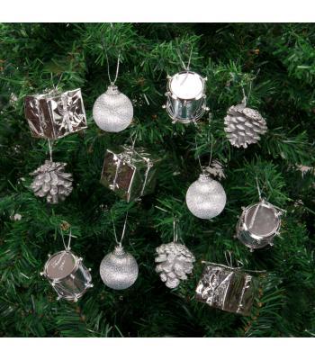 Yılbaşı Ağacı Süsü Gümüş Lüks Süsleme Seti 24 Adet
