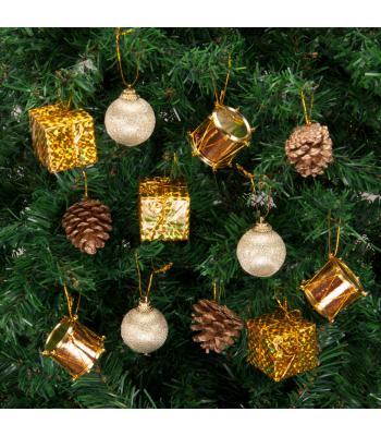 Yılbaşı Ağacı Süsü Altın Lüks Süsleme Seti 24 Adet