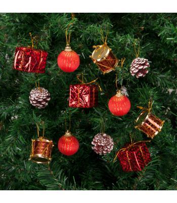 Yılbaşı Ağacı Süsü Kırmızı Lüks Süsleme Seti 24 Adet