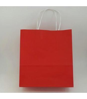 Toptan 22x24 Büküm Saplı Çanta 25'li Kırmızı