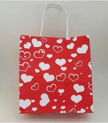Toptan 22x24 Büküm Saplı Çanta 25'li Kırmızı Kalp Puantiye