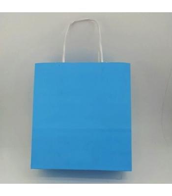 Toptan 22x24 Büküm Saplı Çanta 25'li Mavi