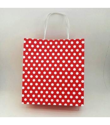 Toptan 22x24 Büküm Saplı Çanta 25'li Kırmızı Puantiyeli