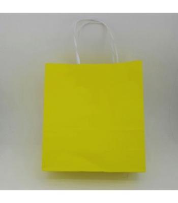 Toptan 22x24 Büküm Saplı Çanta 25'li Sarı