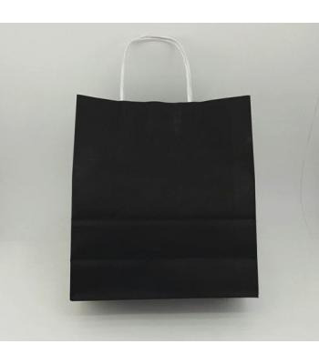 Toptan 22x24 Büküm Saplı Çanta 25'li Siyah