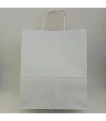 Toptan 25X31 Büküm Saplı Çanta 25'li Beyaz