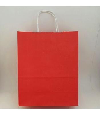 Toptan 25X31 Büküm Saplı Çanta 25'li Kırmızı