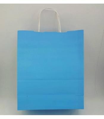 Toptan 25X31 Büküm Saplı Çanta 25'li Mavi