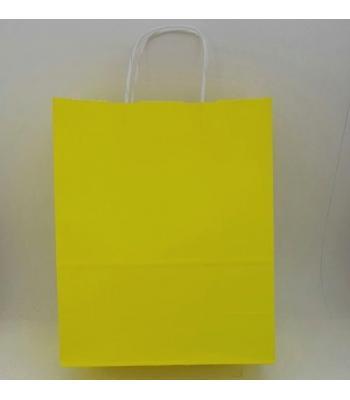 Toptan 25X31 Büküm Saplı Çanta 25'li Sarı