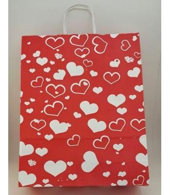 Toptan 32x40 Büküm Saplı Çanta 25'li Kırmızı Kalp Puantiye