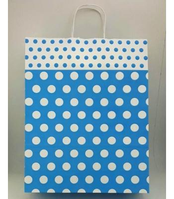 Toptan 32x40 Büküm Saplı Çanta 25'li Mavi Puantiye