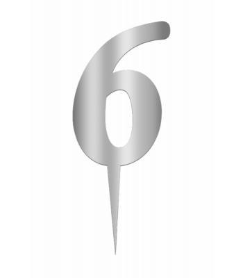 Toptan Pleksi Ayna Gümüş Rakam 6