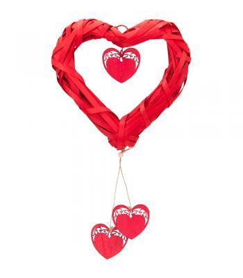 Yılbaşı Kapı Süsü Hasır Kalp Kırmızı 25 cm