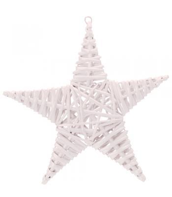 Yılbaşı Kapı Süsü Hasır Yıldız Beyaz 25 cm