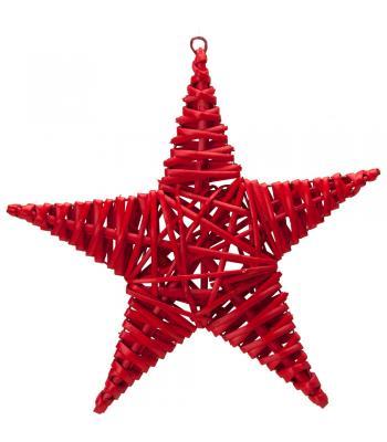 Yılbaşı Kapı Süsü Hasır Yıldız Kırmızı 25 cm