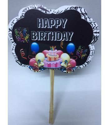 Toptan Happy Birthday Siyah Balonlu Konuşma Balonu