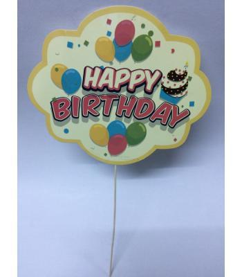 Toptan Happy Birthday Sarı Balonlu Konuşma Balonu