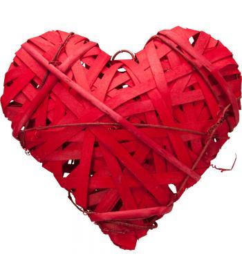 Yılbaşı Kapı Süsü Dekoratif Hasır Kalp Kırmızı 25 cm