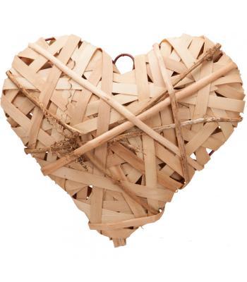 Yılbaşı Kapı Süsü Dekoratif Hasır Kalp Natural 25 cm