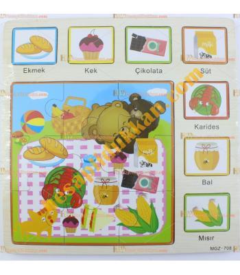Toptan Türkçe ahşap yapboz puzzle yemekler