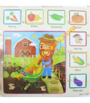 Toptan Türkçe ahşap puzzle yapboz sebzeler