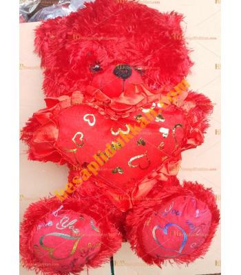 Toptan 35 cm peluş oyuncak sesli kalpli ayı kırmızı