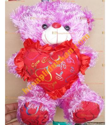 Toptan sesli  kalpli peluş oyuncak ayı 35 cm lila