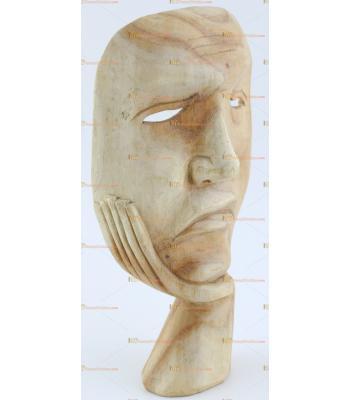 Toptan ahşap hediyelik aksesuar ağlayan gülen yüz mask