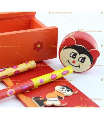 Toptan ahşap eğitici promosyon oyuncak kalem kutusu kalemtraş kalem cetvel