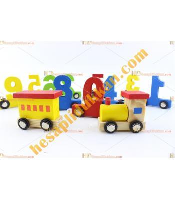 Toptan rakamlar ahşap eğitici oyuncak tren