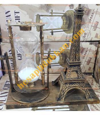 Toptan hediyelik eşya eyfel kule kum saati eskitme bakır renk