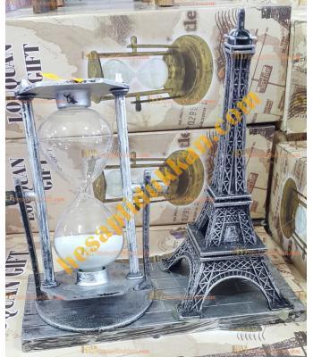 Toptan hediyelik eşya eyfel kule kum saati eskitme gümüş renk