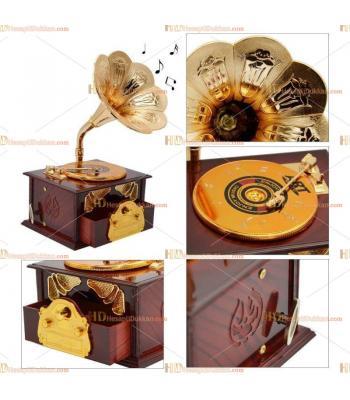 Gramofon müzik kutusu hediyelik eşya takı saklama çekmeceli