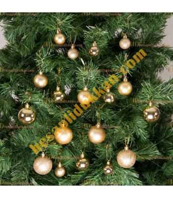 Yılbaşı Ağacı Süsü Altın Süsleme Seti 36 lı Paket