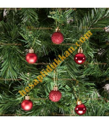 Yılbaşı Ağacı Süsü Lüks Kırmızı Süsleme Seti Ucuz Fiyat