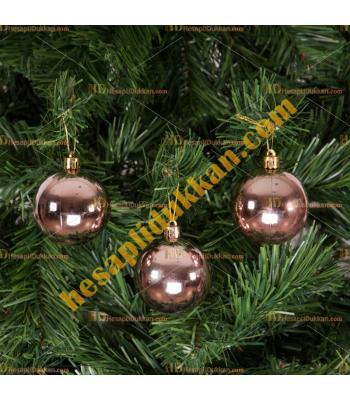 Yılbaşı Ağacı Süsü Rose Gold Cici Toplar 6 cm 6 lı Paket
