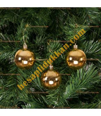 Yılbaşı Ağacı Süsü Altın Sarısı 6 cm Cici Toplar 6 lı Paket