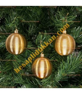 Yılbaşı Ağacı Süsü Altın Çizgili Cici Toplar 7 cm