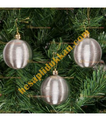 Yılbaşı Ağacı Süsü Gümüş Çizgili Cici Toplar 7 cm