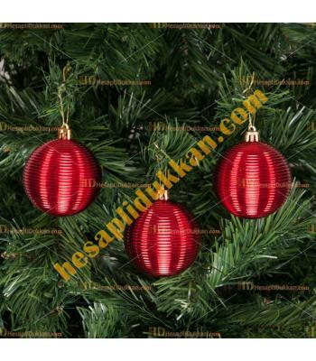 Yılbaşı Ağacı Süsü Kırmızı Çizgili Cici Toplar 7 cm
