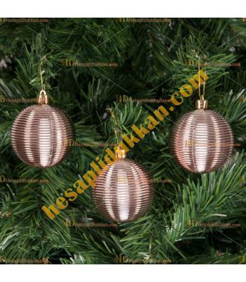 Yılbaşı Ağacı Süsü Rose Gold Çizgili Cici Toplar 7 cm