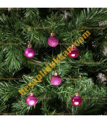 Yılbaşı Ağacı Süsü Lüks Fuşya Süsleme Seti 5 cm Ucuz Fiyat