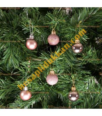 Yılbaşı Ağacı Süsü Lüks Rose Gold Süsleme Seti 5 cm Ucuz Fiyat