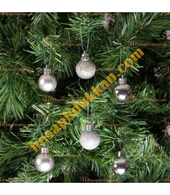 Yılbaşı Ağacı Süsü Lüks Gümüş Süsleme Seti 5 cm Ucuz Fiyat