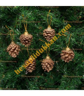 Yılbaşı Ağacı Süsü Altın Sarısı Kozalak 6 lı Paket