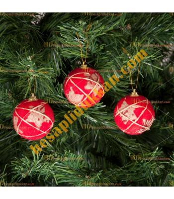 Yılbaşı Ağacı Süsü Kırmızı Cici Top Kumaş Kaplı 6 lı Paket
