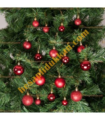 Yılbaşı Ağacı Süsü Kırmızı Süsleme Seti 36 lı Paket