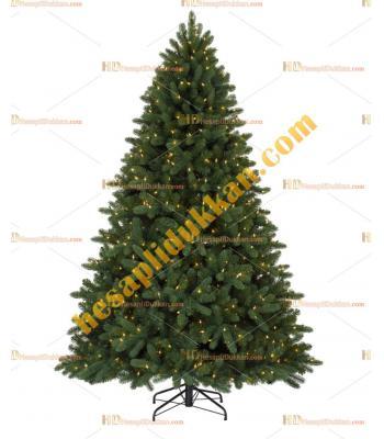 Lüx Işıklı Yılbaşı Ağacı 180 cm PVC Katlanır Dal Kolay Montaj