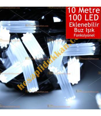 Yılbaşı Işığı Eklenebilir Siyah Kablo 10 Metre 100 Buz Led Beyaz Işık