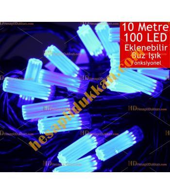 Yılbaşı Işığı Eklenebilir Siyah Kablo 10 Metre 100 Buz Led Mavi Işık